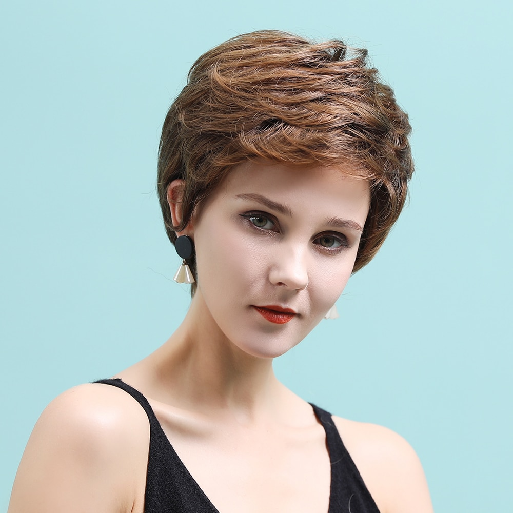 جونرينو 11 بوصة قصيرة عابث قطع الباروكات مع الضوء على ضوء الاصطناعية شقراء مستقيم الأبيض شعر طبيعي للنساء الباروكات هدية