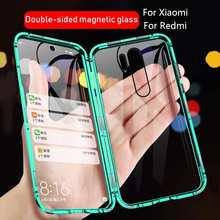 Металлический чехол с магнитной адсорбцией для Xiaomi Redmi Note 10 9 8 7 Pro 9A 9C 8A, двухсторонний стеклянный чехол для Xiaomi 10 10T 9T Pro, 360