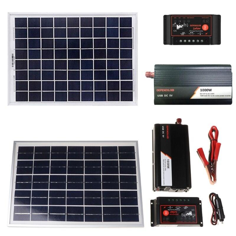18 فولت 20 واط لوحة طاقة شمسية نظام الطاقة 12 فولت/24 فولت جهاز تحكم رقمي + 1000 واط العاكس عدة ل في الهواء الطلق المنزل توفير الطاقة الجيل