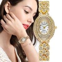oval women fashion watches diamond luxury gold crystal bracelet 2021 ladies quartz watch qualities shell dial female clock gifts
