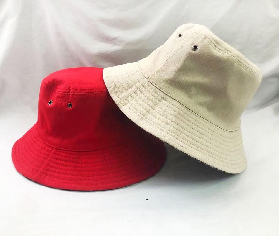 Cotton Bucket Hats Women Branded Sunscreen Panama Hat Men Pure Color Sunbonnet Fedoras Outdoor Fishe