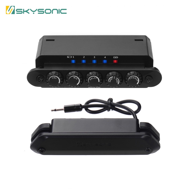 Camioneta de resonancia acústica SKYSONIC R2 con volumen magnético/volumen de micrófono/retraso/reverberación/interruptor de fase de controles de estribillo