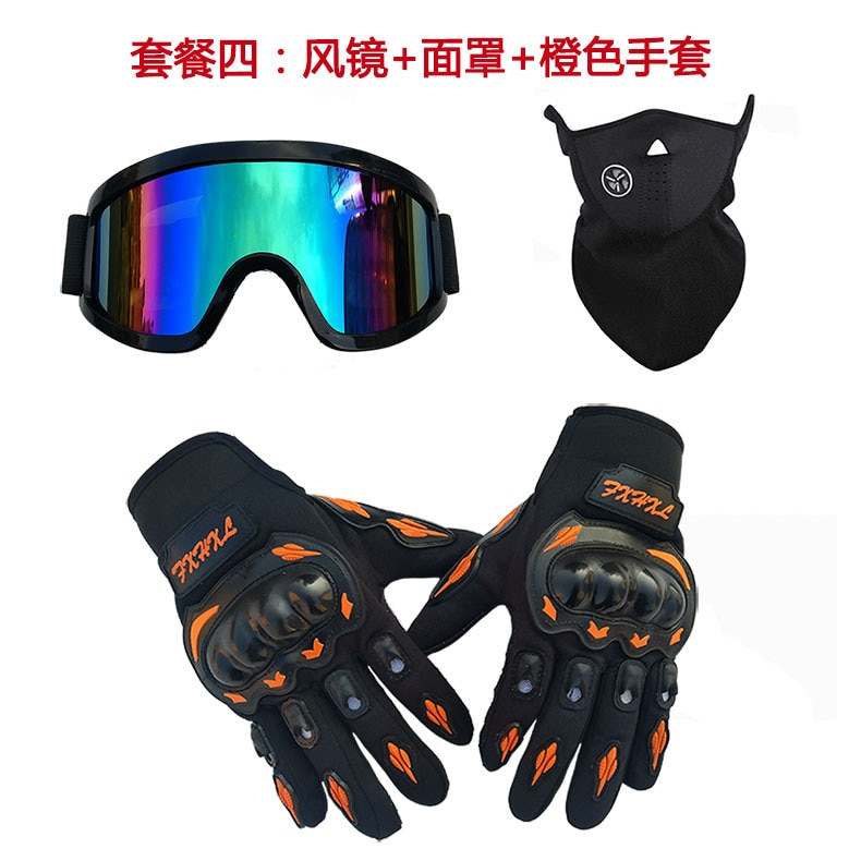 Three piece cross country helmet, goggles, ski mask, motorcycle riding, hard shell gloves, color glasses, red, black and green