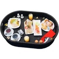 floating plate swimming pool water breakfast tray vietnam rattan basket homestay hotel villa fruit plate