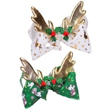 8 Inch Girls Hair Clip For Girls Kids Foil Printed Christmas Deer Horn Antler Ribbon Knot Large Bow Hairpins Christmas Gift