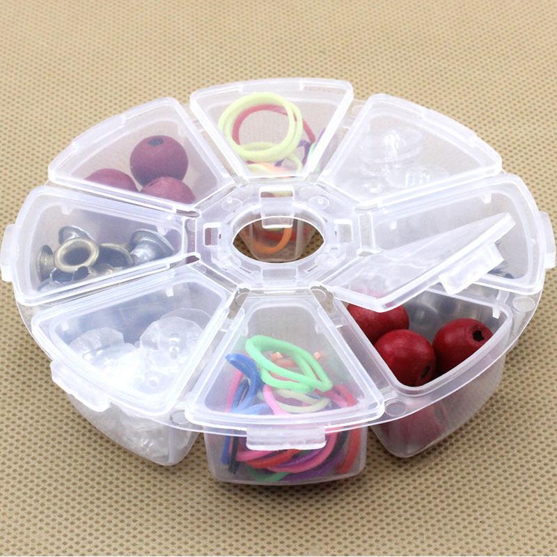Caja redonda de 8 rejillas de plástico transparente, Caja de almacenaje de cuentas y joyas, contenedor, organizador artesanal