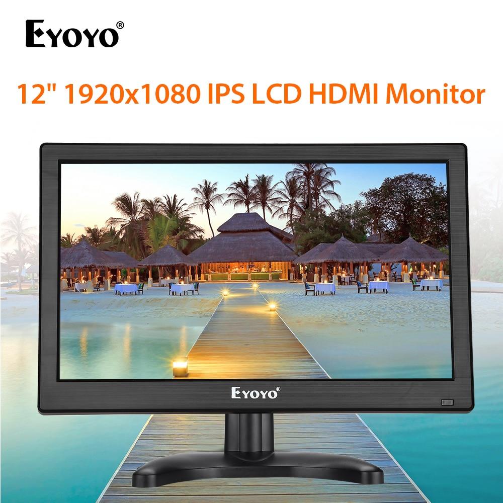 "Pantalla LCD ejoyo EM12K de 12 "", 1920x1080 FHD, HDMI, IPS, CCTV, con VGA, BNC, USB, altavoz, pantalla de vigilancia de seguridad de ordenador"