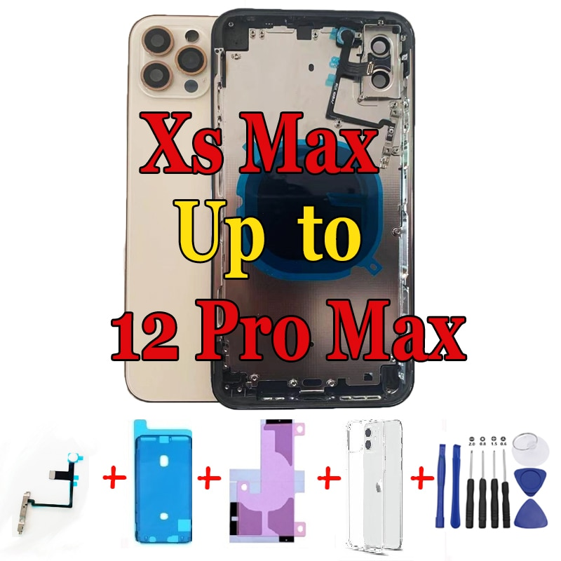 Review Newest DIY for iPhone Xs Max like 12 Pro Max Housing,Chassis for iPhone Xs Max into 12 Pro Max Replacement Parts + Free Case
