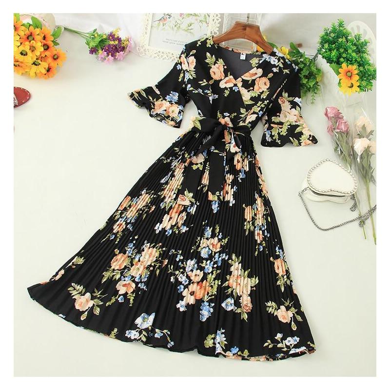 Boho 2020 V Neck Floral Print Summer Bandage Dress Midi Long Chiffon Party Women Casual Elegant Pleated Beach Holiday Dresses