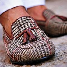 Men's Low-heel Retro Plaid Shoes New Round Toe Classic Tassels Fashion Loafers Fashion Trend Everyda