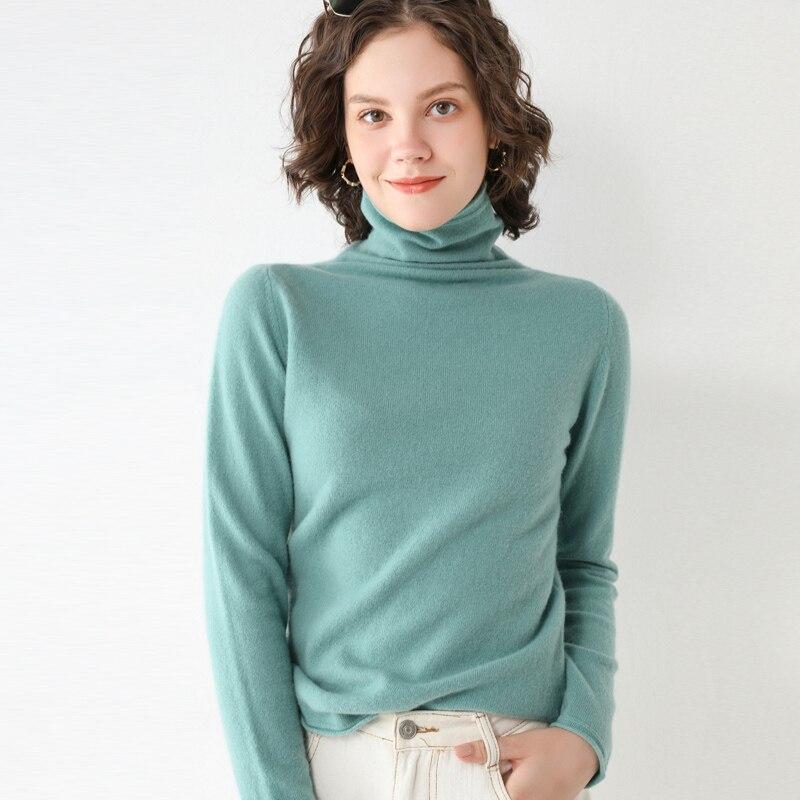 LHZSYY-كنزة من الكشمير برقبة عالية للنساء ، قميص أساسي جديد لخريف وشتاء 2020 ، كنزة صوفية فضفاضة محبوكة ، توب دافئ يناسب كل شيء ، 100%