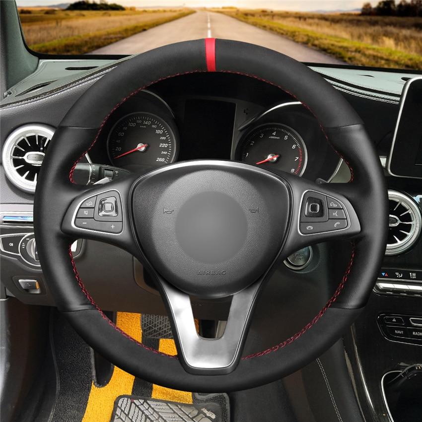 DIY Anti-Slip Wear-Resistant Steering Wheel Cover For Mercedes Benz C180 C200 C260 C300 B200 Car Interior Decoration