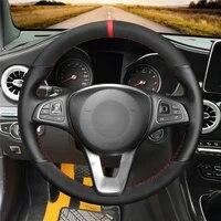 diy anti slip wear resistant steering wheel cover for mercedes benz c180 c200 c260 c300 b200 car interior decoration