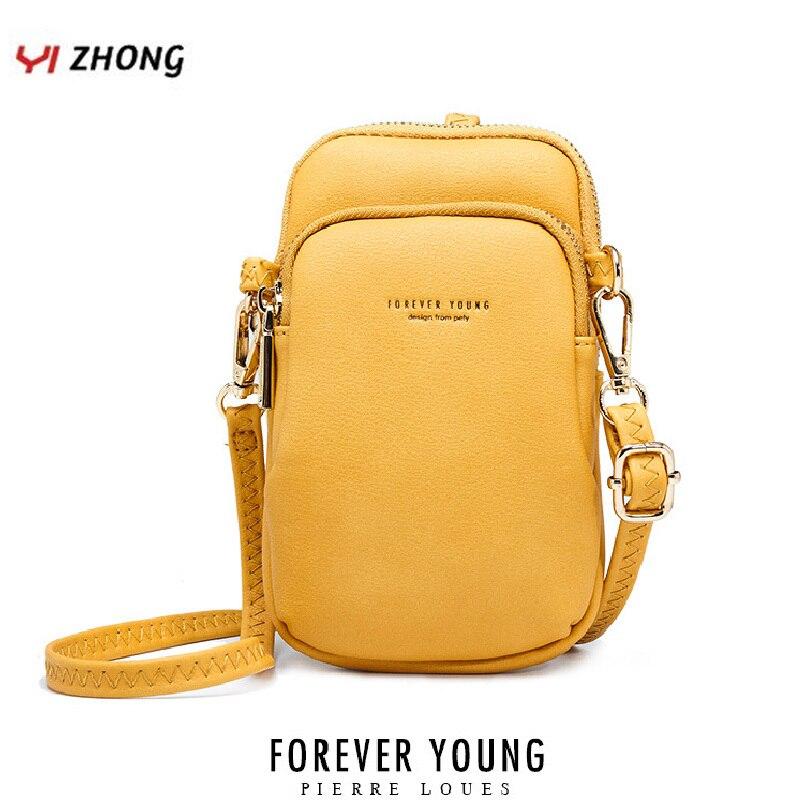 YIZHONG, pequeña bolsa para teléfono móvil de cuero de lujo, bolso de hombro, bolso de marca para el pecho, bolsos cruzados para mujer, bolso de mensajero, monederos