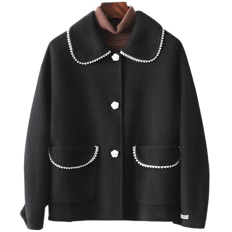 حقيقي الصوف المخلوطة معطف الفرو الربيع الخريف المرأة أبلى دعوى LF21026HH