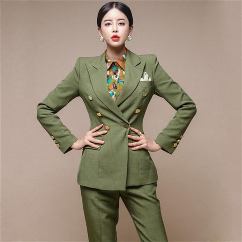 المدرج الأزياء الأخضر المرأة سترة مجموعة مزدوجة الصدر ضئيلة سترة + قلم رصاص بانت الإناث بانت دعوى 2 قطعة مجموعة السيدات العمل دعوى