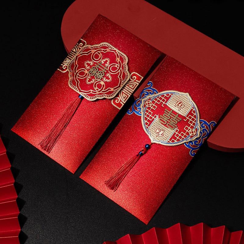 1 шт. креативные красные пакеты, свадебная красная сумка-конверт, размер 2022, новые свадебные принадлежности Daquan