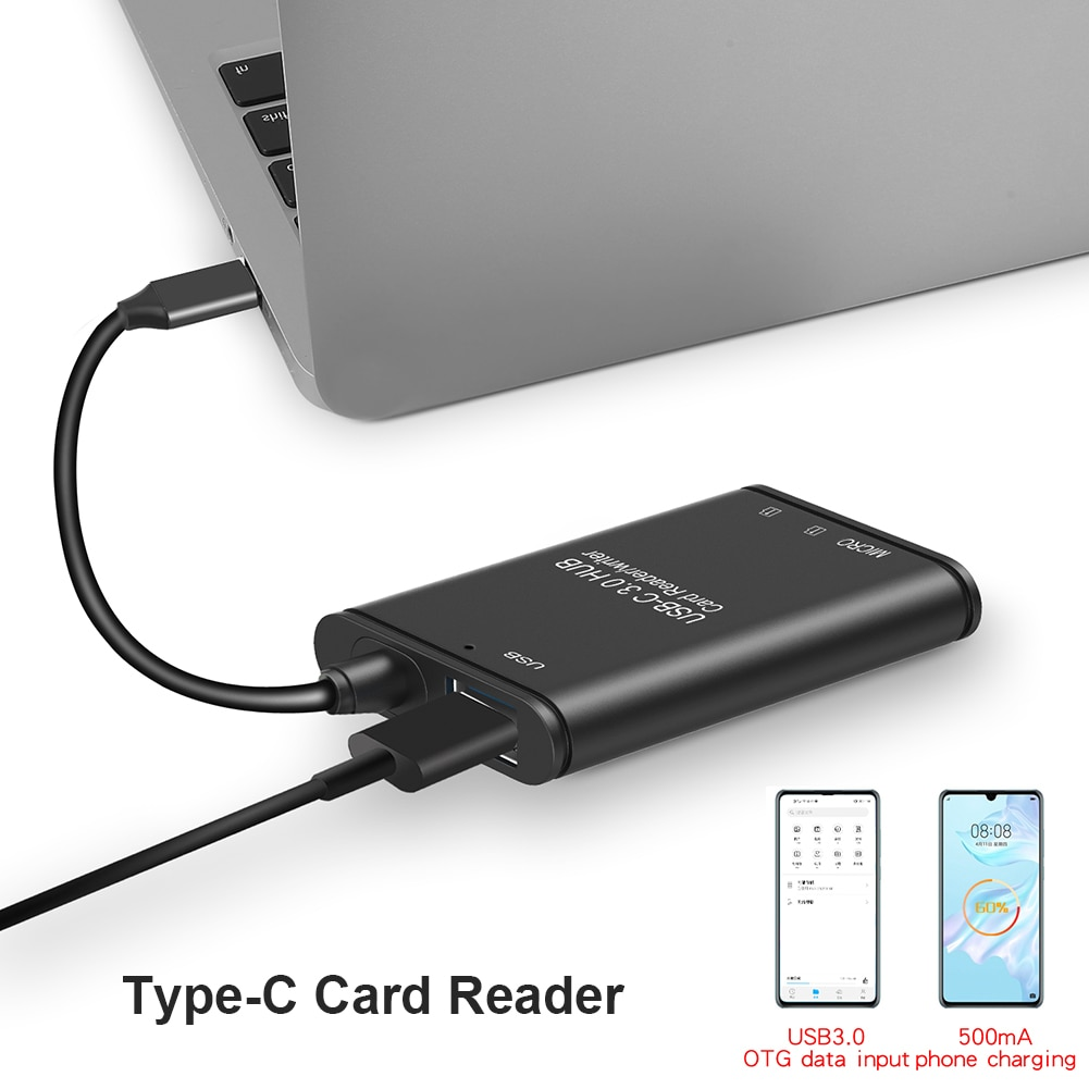 Memory Card Reader Office Caring Computer USB Type 3.1 C to USB 3.0 OTG Adapter Supplies for Laptop