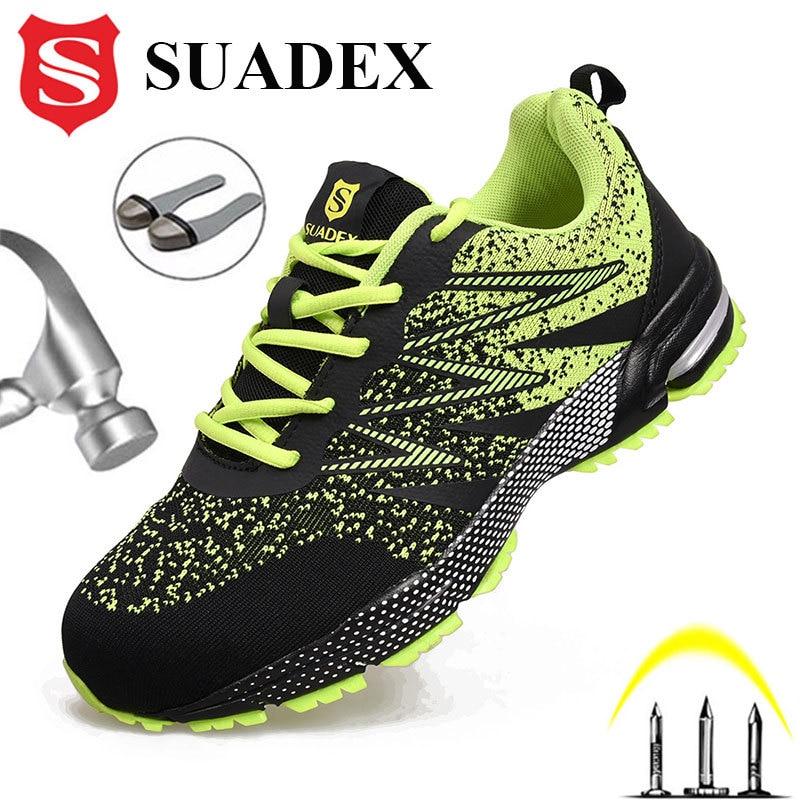 SUADEX أحذية أمان الرجال النساء الصلب تو أحذية مكافحة تحطيم العمل أحذية رياضية خفيفة الوزن تنفس الصيف الأحذية EUR حجم 37-48