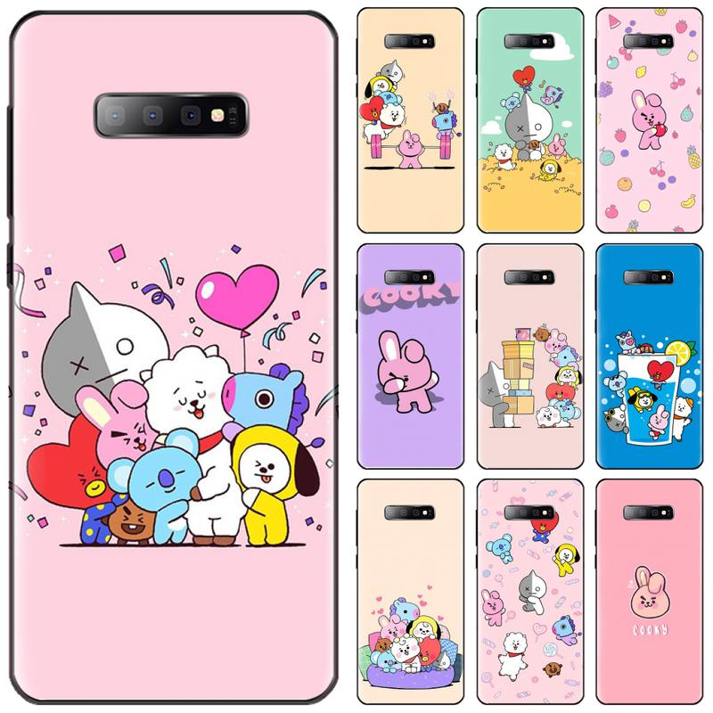 Cute Cartoon BT rabbit Black Soft Shell Phone Case Capa For Samsung S6 S7 edge S8 S9 S10 e plus A10 A50 A70 note8 J7 2017