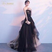 Sexy Black Strapless Neck Evening  Dresses A-Line Sleeveless Floor Length Lace-Up Applique Ruffles P