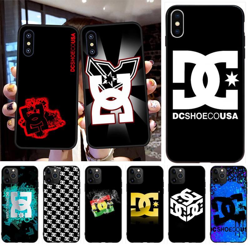 Penghuwan stickerbomb dc skate bmx capa preta escudo macio caso do telefone para o iphone 11 pro xs max 8 7 6 s plus x 5S se xr caso