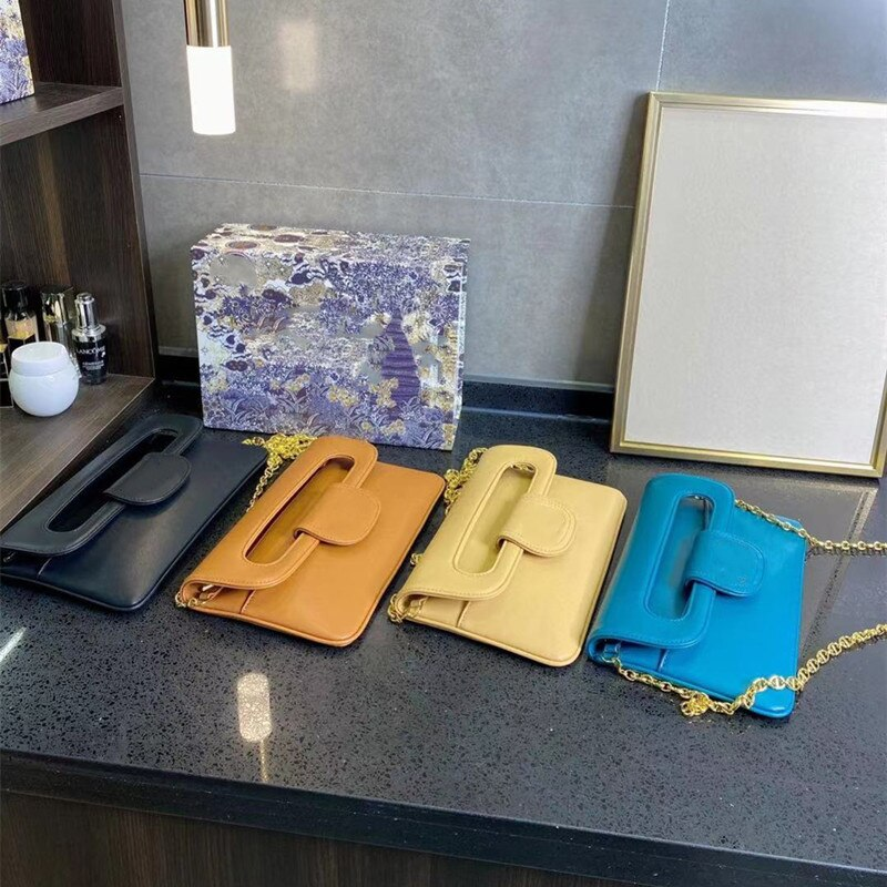 Hiboom 2021 العلامة التجارية الفاخرة مصمم جديد جلد العجل واحد الكتف حقيبة ساعي سستة مقصورة سلسلة عالية الجودة للسيدات
