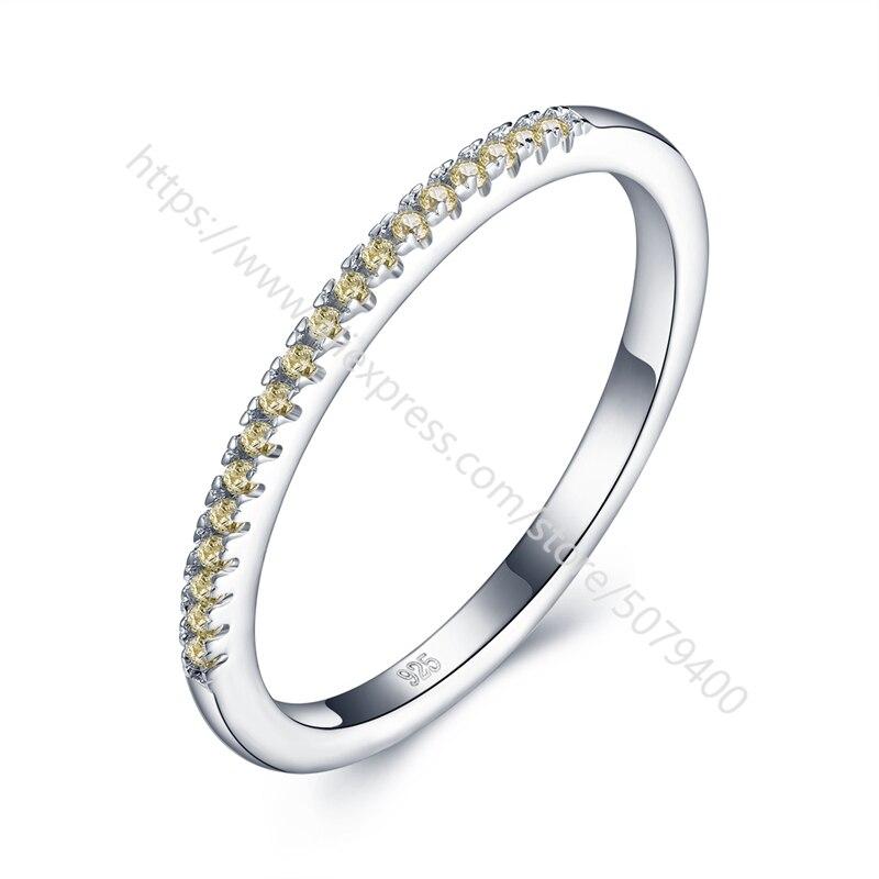 S925 sterling s anel de meia eternidade banda de noivado anel de casamento banda fina cz anel de banda de harmonização