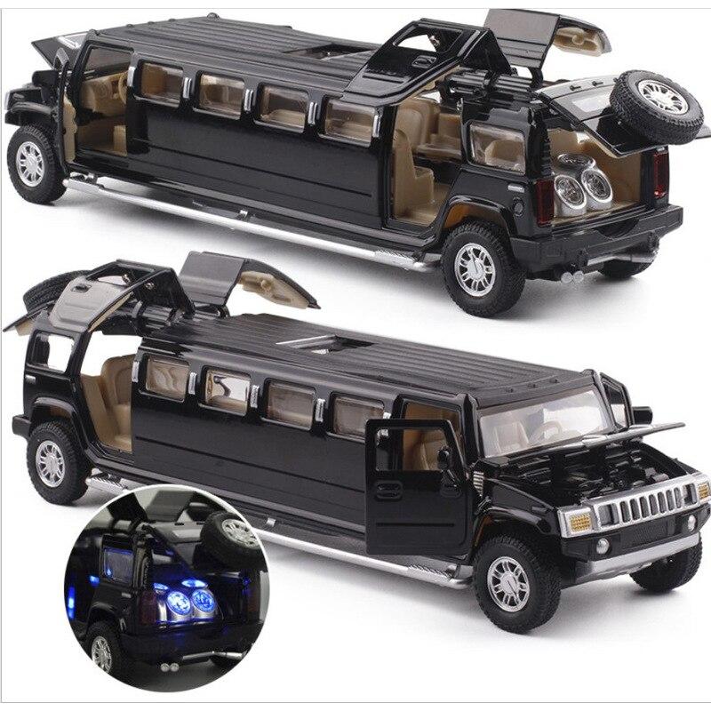 Высокая симуляция 1:32 Сплав hummer лимузин Металл литье под давлением модель автомобиля потяните назад мигающий музыкальный детский игрушечный автомобиль Бесплатная доставка