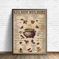 nordic retro art poster kitchen decoration mural witch magic knowledge creative canvas painting interior design prints frameless
