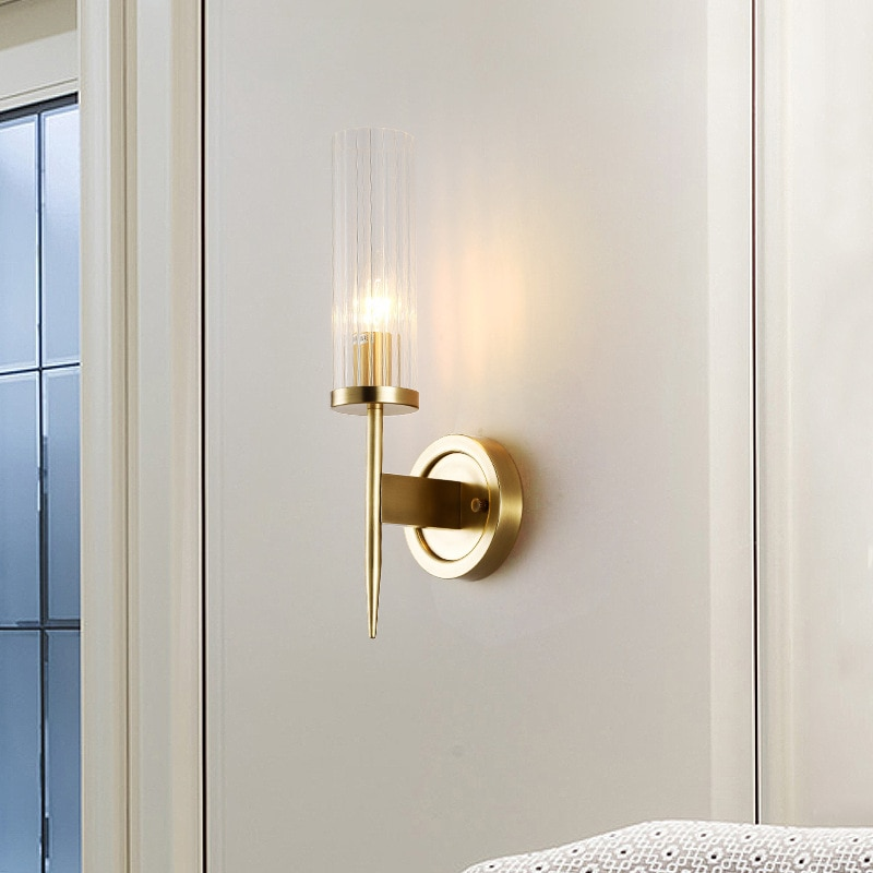 All Copper Wall Lamp Bedroom Bedside Living Room Background Wall Lamp Staircase Wall Lamp Light Luxury American Simple E14