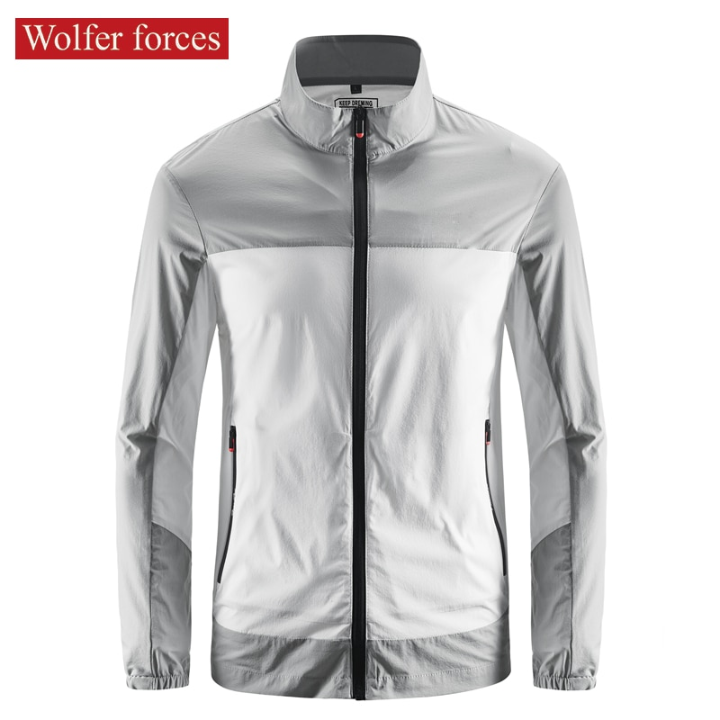 Sunscreen Men's Ultra Thin Breathable Summer Ice Silk Coat Quick Dry Skin Windbreaker Stand Collar Stretch Sports Jacket