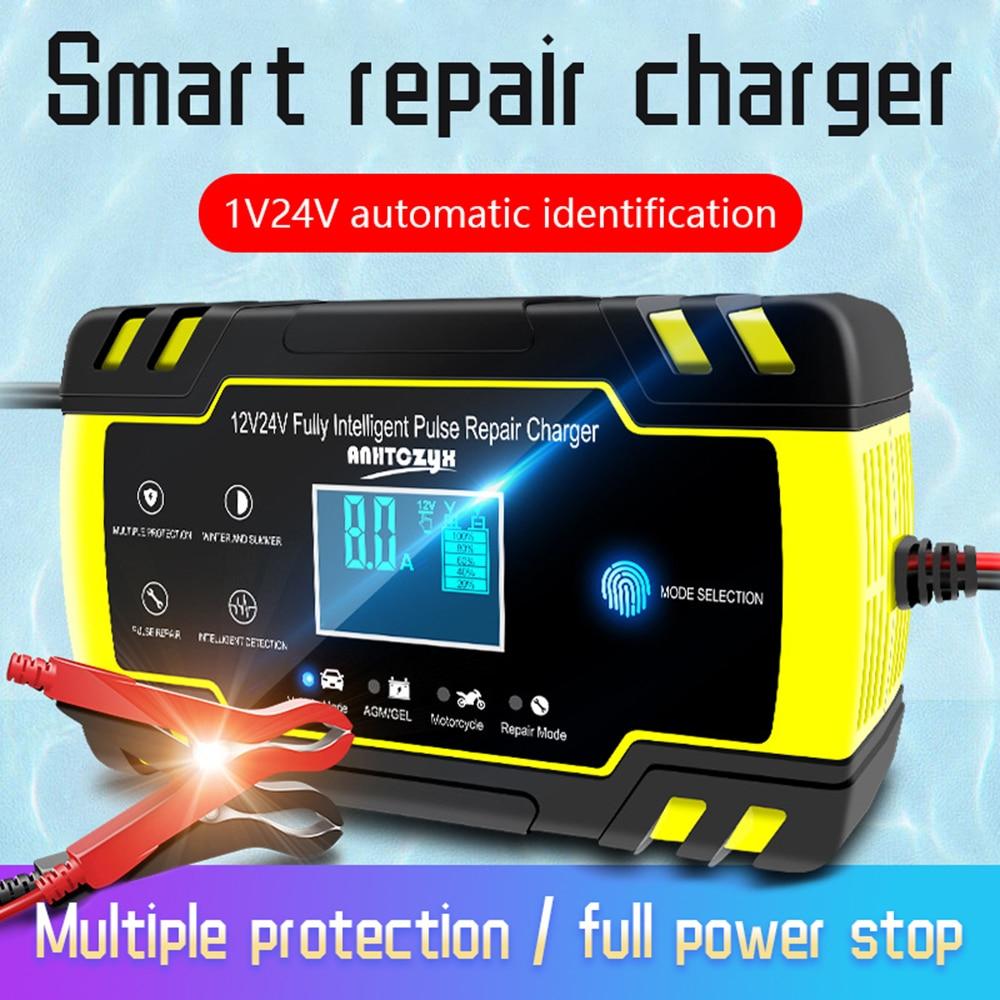 12v 24v 8A Auto Ladegerät Voll Automatische Touchscreen Voll Intelligente Puls Reparatur Ladegeräte Nass Trocken Blei säure LCD Display