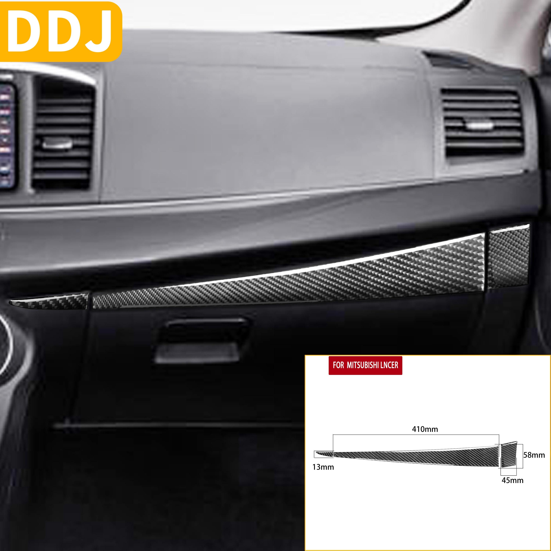 Para Mitsubishi Lancer EVO X MR 2008-2015, almacenamiento de copiloto, tiras adhesivas de fibra de carbono, cubierta de guantera, accesorios para automóviles