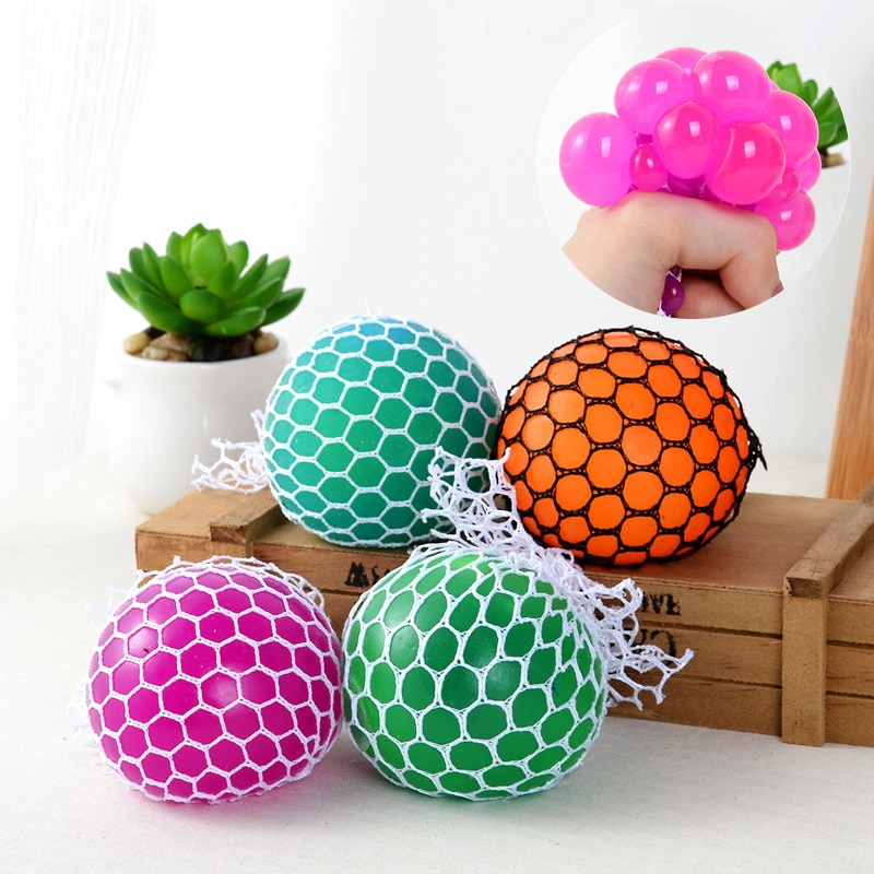 Gags & Practical Novelty Anti Stress Face Reliever Grape Ball Autism Mood Squeeze Relief Toy Extruded Discoloration Creative Gif