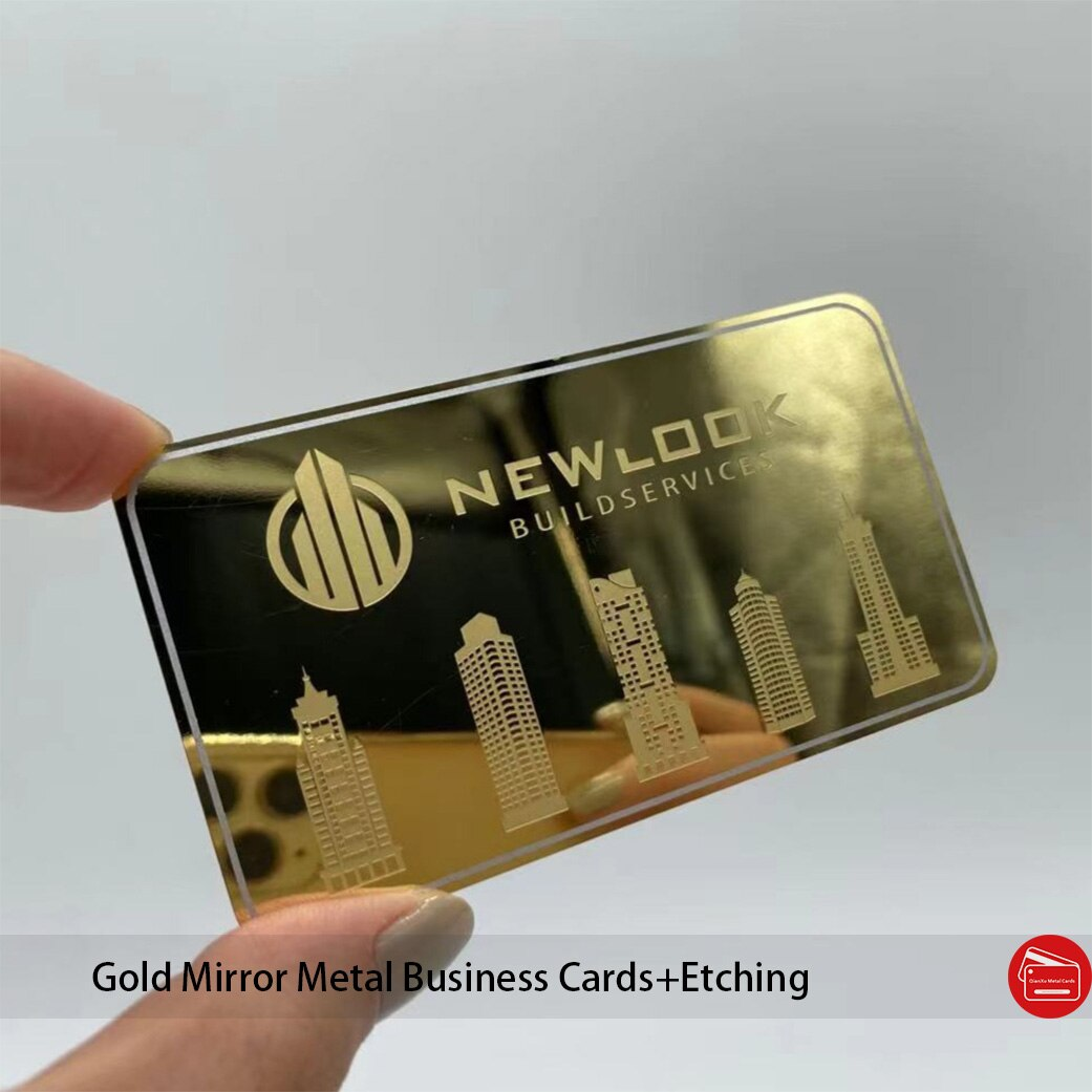 Plated gold metal business cards with mirror finish chemical etching luxury effect