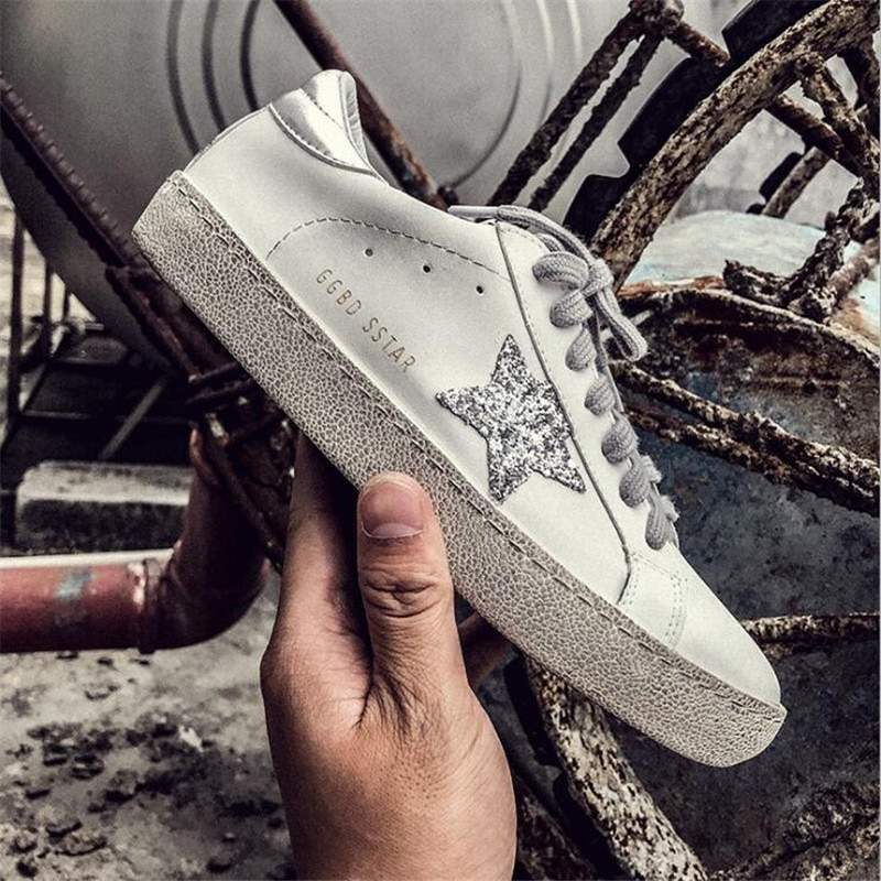 2021 New Running Unisex Trend Golden Dirty Old Korean Version Stars White Flat Shoes Large Size 36-4