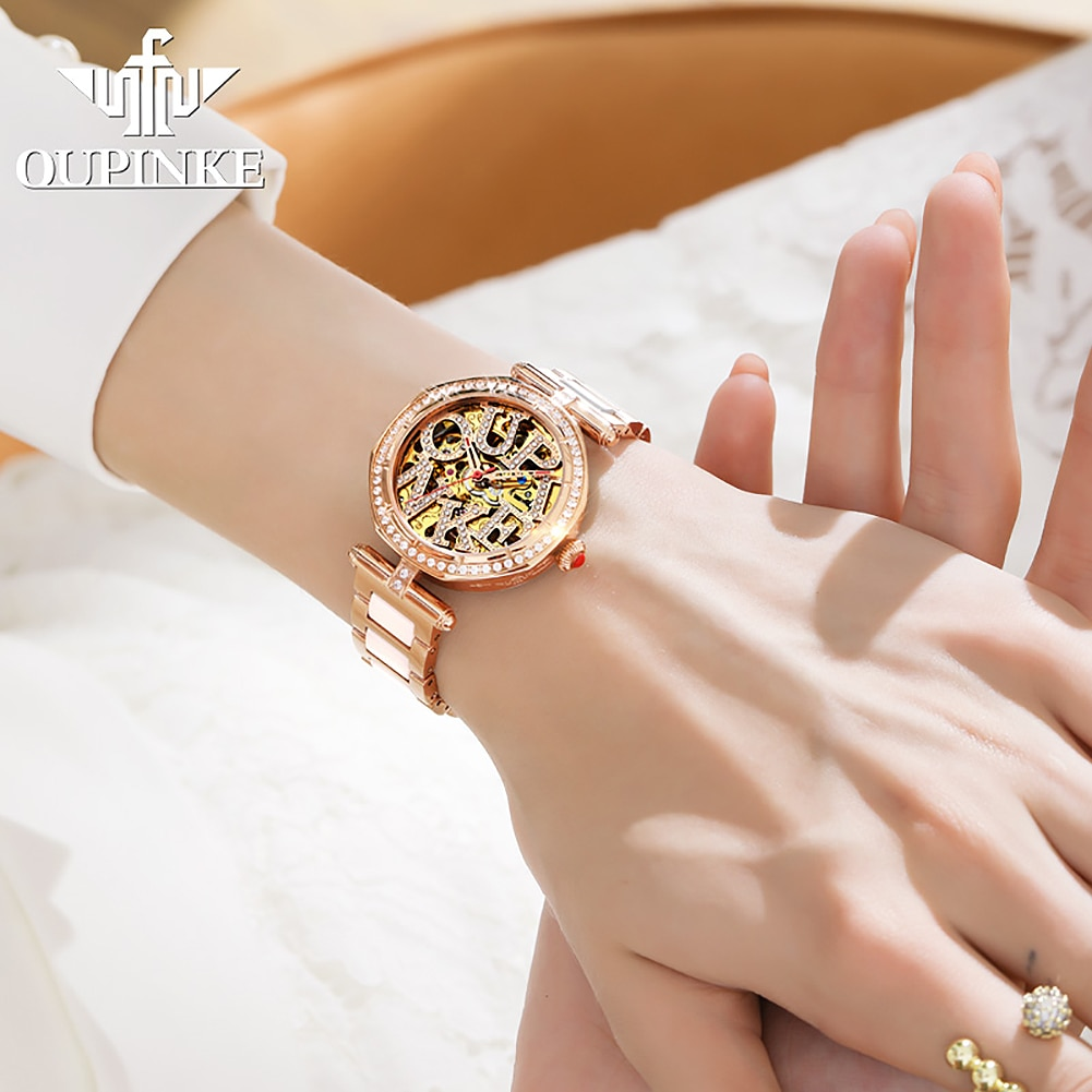 Women's Luxury Mechanical Watch Automatic Watch Ceramics Hollow Out Inlaid Diamond Top Brand OUPINKE Sapphire Watch Women enlarge