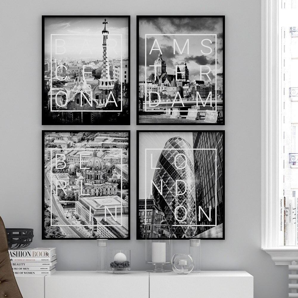Amsterdam cartel de Londres impresión de la pared de blanco y negro...
