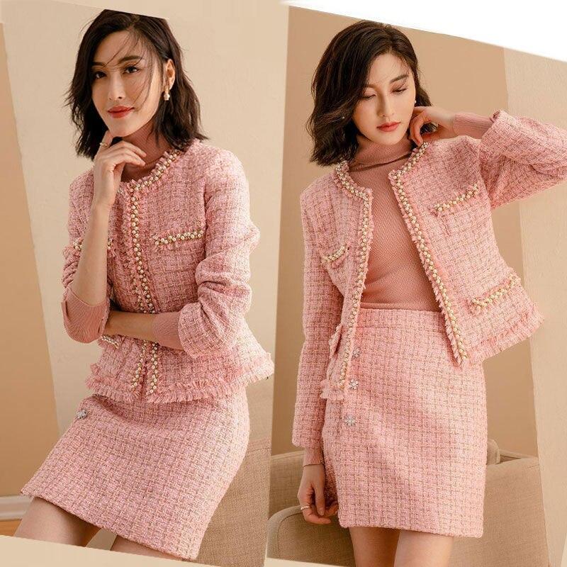 الموضة مزاجه المرأة قصيرة سترة التنانير مجموعة الربيع الخريف خمر تويد قطعتين مجموعة الإناث مكتب ملابس غير رسمية R668