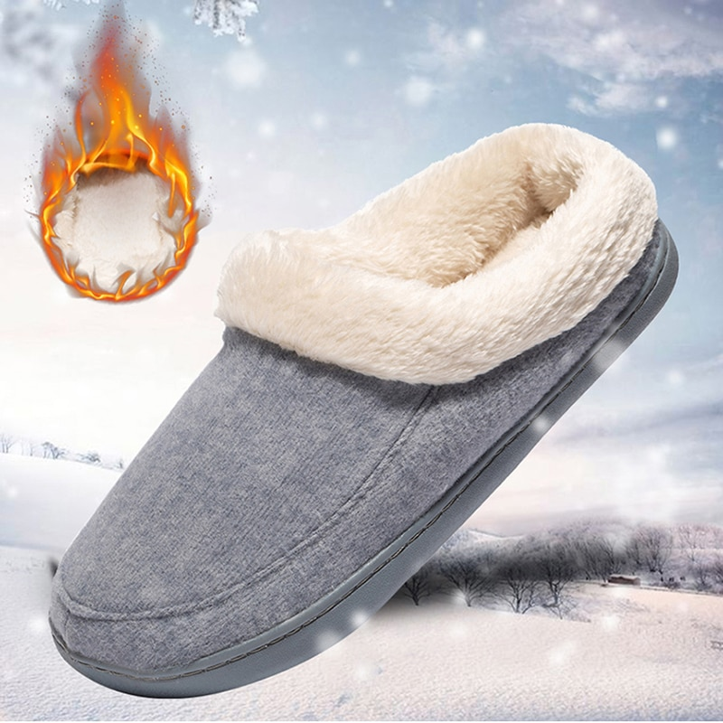 Winter Warm Slippers Men Women Plush Flat Home Shoes Non-slip Soft Comfort Slides Casual Couple Shoes Indoor Ladies Fur Slippers
