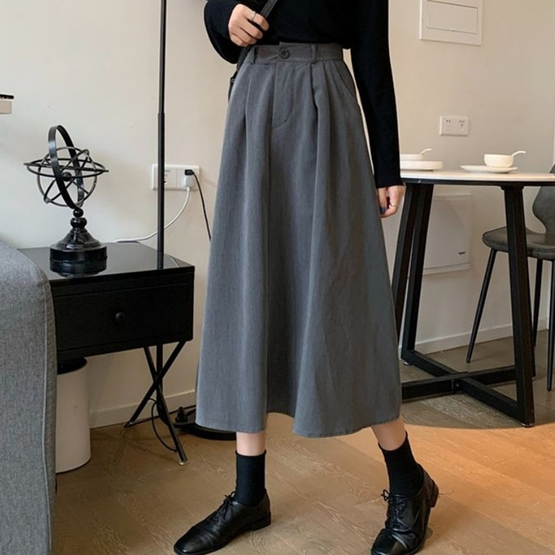 Simple High Waist Elastic Suit Skirt Spring and Summer Pure Color OIffice Clothing Loose Button Slim Work Skirt for Women