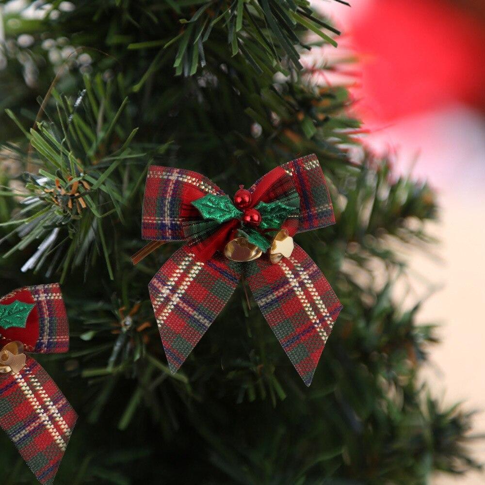 10 piezas arco Navidad colgante adorno DIY árbol de Navidad decoración Bowknot fiesta hogar adornos Año Nuevo evento regalo de boda decoración