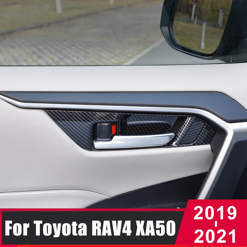 ABS Wood Grain Car Interior Door Handle Bowl Frame Cover Trim For Toyota RAV4 2019 2020 2021 RAV 4 XA50 Car Interior Accessories