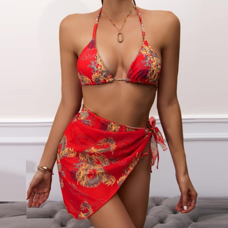 Floral Printed Bikini Set Women Sexy Halter Bandage Bra Crop Tops+Bikini Panties+Mini Skirts Swimsuit Beachwear Bathing Suit