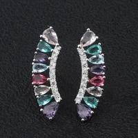 funmode creative fan shape colorful crystal stud earrings for women trendy party earring bouckes d oreilles femme fe94