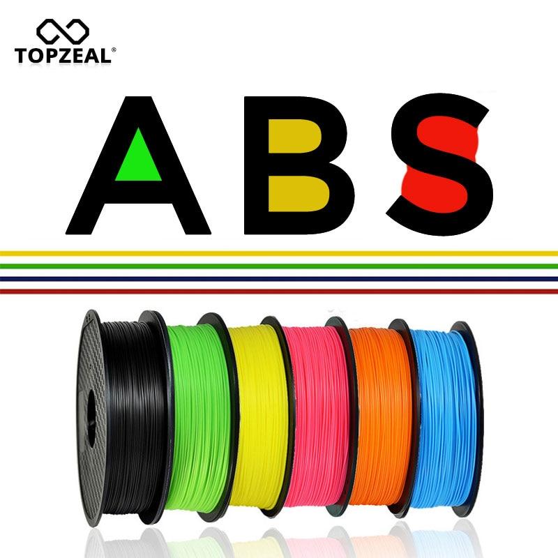 TOPZEAL 3D Printer ABS Filament 1KG/2.2LBS 1.75mm Dimensional Accuracy +/-0.02mm 343M 3D Printing Material Plastic for RepRap