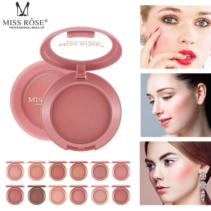 Miss rosa 12 cores bochecha blush paleta natural clarear rosto blush em pó contorno à prova dwaterproof água bronzer pêssego maquiagem tslm2