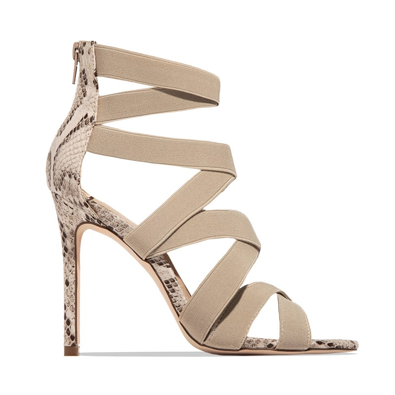 Snake Summer Shoes Woman Pumps High Thin Heels Pointed Toe Rhinestone Gladiator Party Sexy Prom