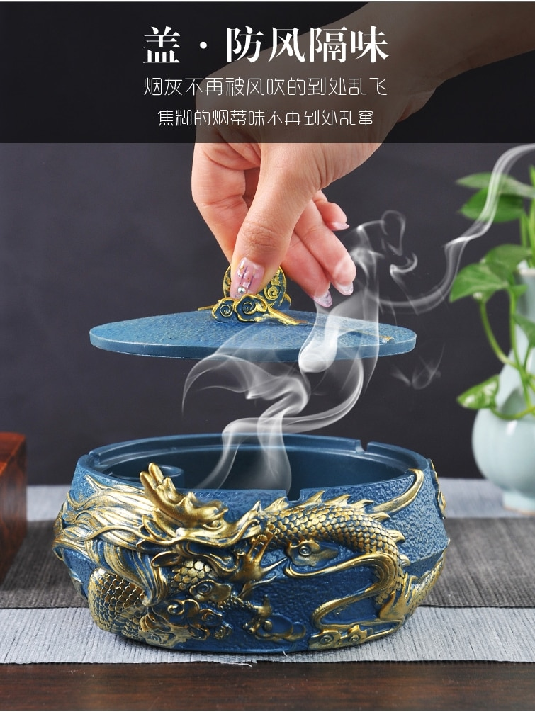 Creative Ashtray with Lid Large Household Living Room Fashion Personality Trend Office Chinese Style Vintage Ornament Decoration enlarge